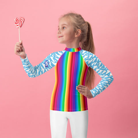 Babalus Rainbow and Clouds Kids Rash Guard