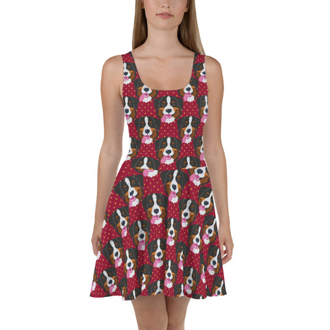 Bernese Mountain Dog Womens Fit and Flare Dress