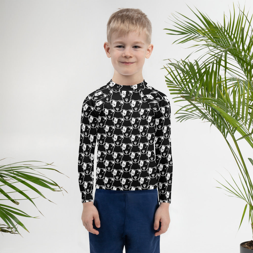 Pitbull Face on Black Kids Rash Guard