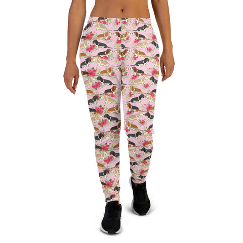 Floral Basset Hound Women's Joggers