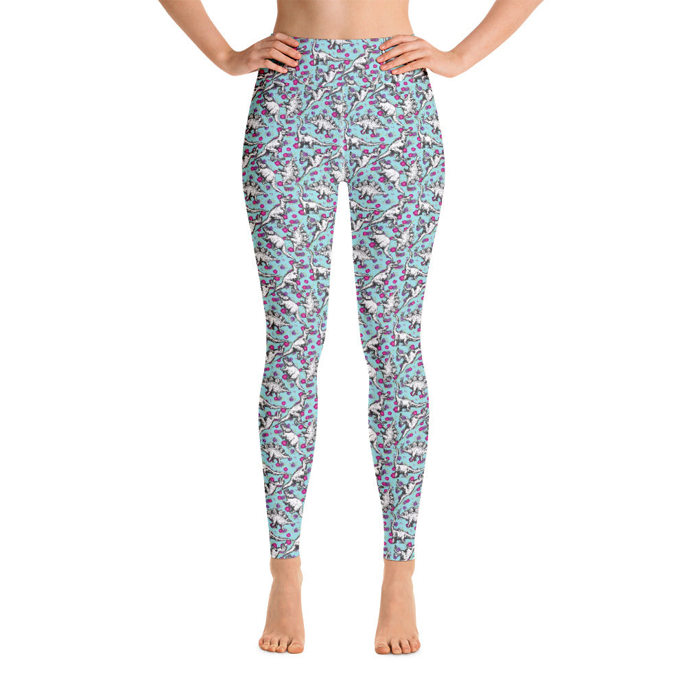 Floral Dinosaur Yoga Leggings