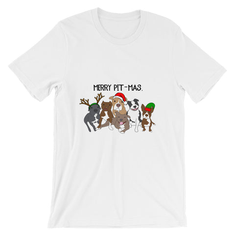 Christmas Merry Pitmas Pitbull Unisex short sleeve t-shirt