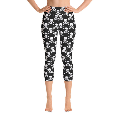 Skull and Crossbones Yoga Capri Leggings