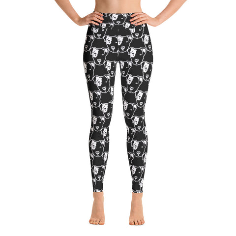 Pitbull Face on Black Yoga Leggings