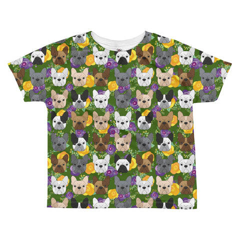 Floral French Bulldog All-over kids sublimation T-shirt