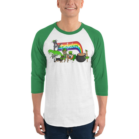 St Patricks Day Doggies English Bulldog Chihuahua Dachshund Mutt Pitbull 3/4 sleeve raglan shirt