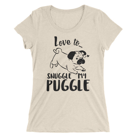 Love to snuggle my Puggle Ladies' short sleeve t-shirt
