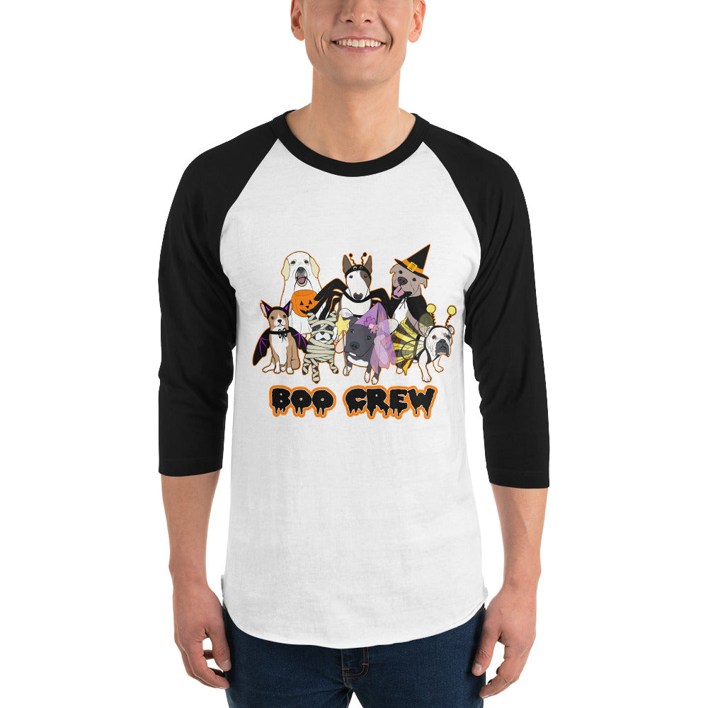Halloween Boo Crew Labrador Retriever French Bulldog Pitbull Chihuahua English Bulldog Bull Terrier 3/4 sleeve raglan shirt