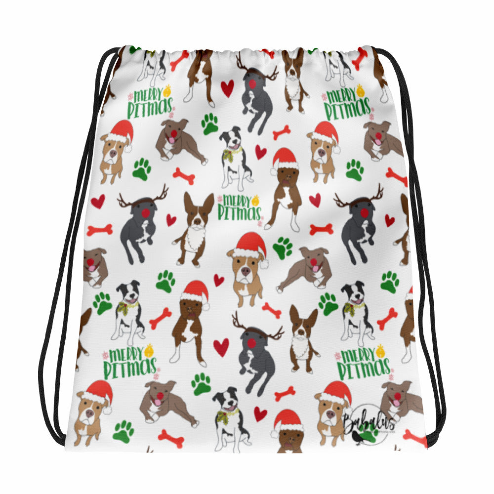 Merry Pitmas Pitbull Christmas Drawstring bag