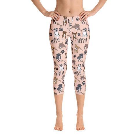 Peach So Pitty Pitbull Capri Leggings