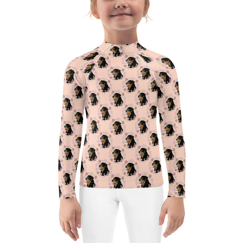 Floral Rottweiler Kids Rash Guard