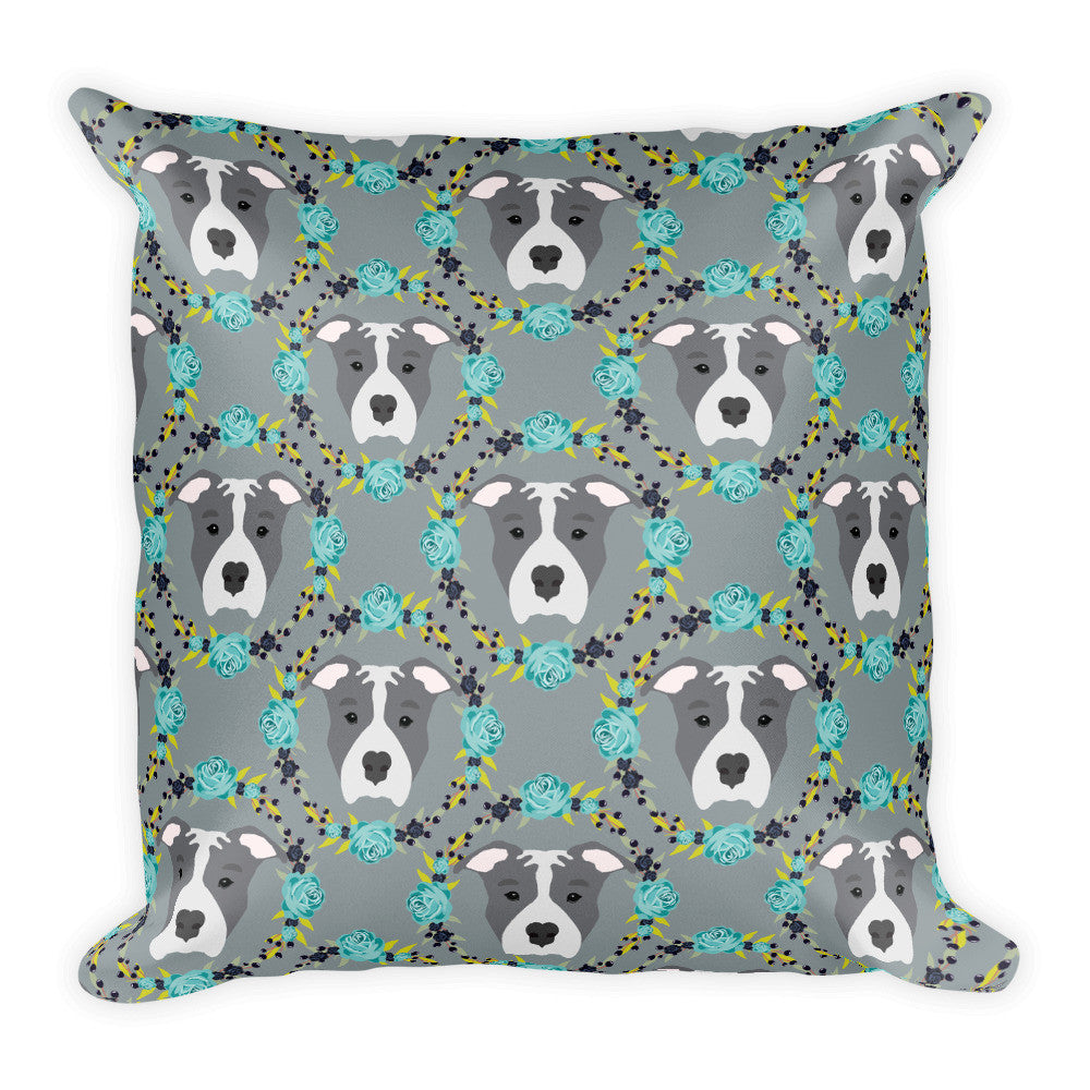 Blue Pitbull Square Pillow