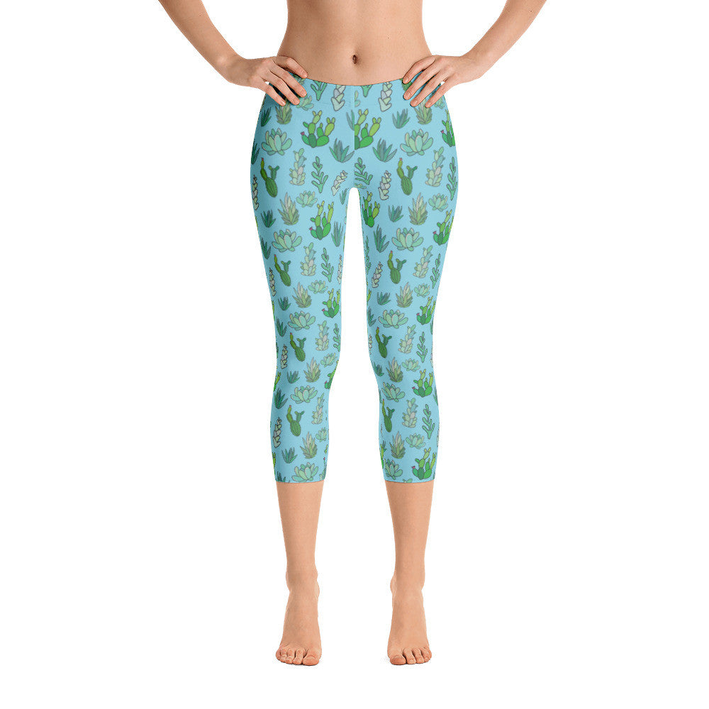 Succulent Cactus on Blue Capri Leggings