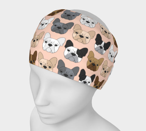 French Bulldog on Peach Headband