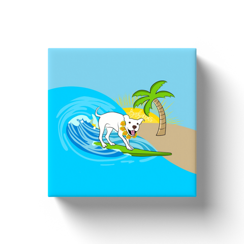 Surfing Pitbull Canvas Wraps