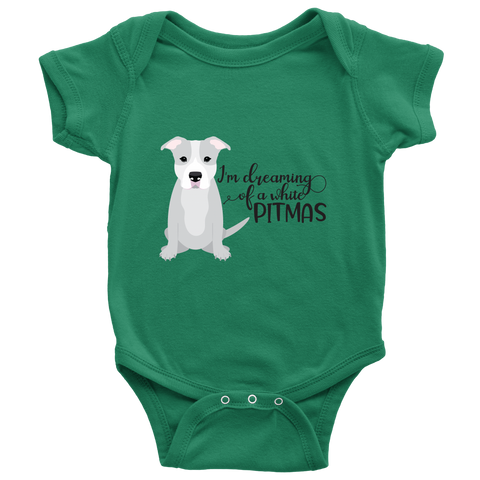 I'm Dreaming of a White Pitmas Pitbull Christmas Infant Bodysuit
