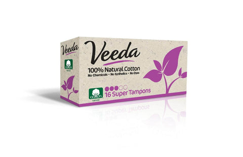 Veeda Natural All-Cotton Tampons, Super, Applicator-Free, 16 Count /