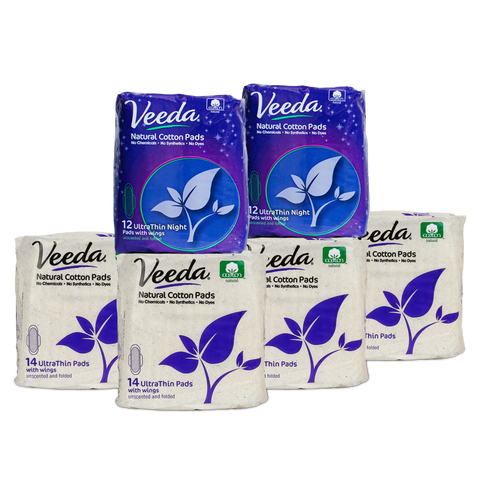 4 packs of Veeda Ultra Thin Day Pads + 2 packs of Ultra-Thin Night Pads /
