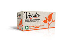 Veeda Applicator-FREE Super Plus Tampons 16 Count 100% Natural Cotton