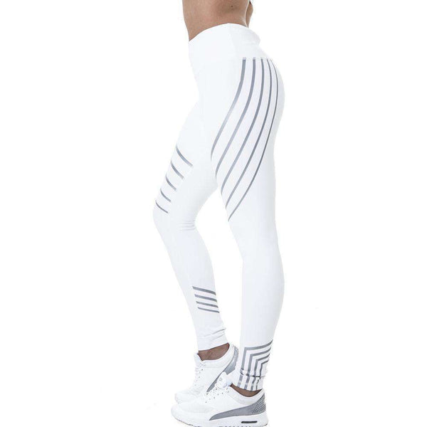 GLMBuy - Colorful Striped Leggings - White / S