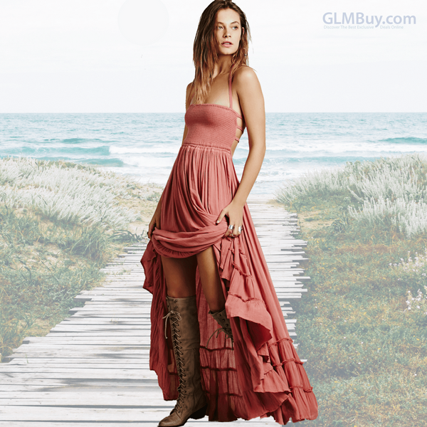 GLMBuy - Boho-Chic Summer Vibes Dress - Pink / S