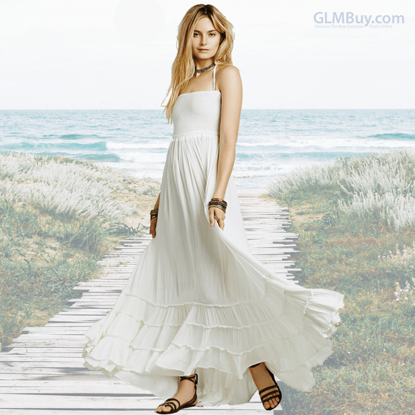 GLMBuy - Boho-Chic Summer Vibes Dress - White / S