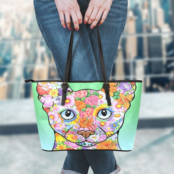 GLMBuy - Floral Siamese Cat Leather Tote Bag