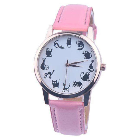 GLMBuy - Cat O'Clock Watch - 50% OFF! - Pink