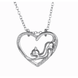 GLMBuy - Crystal Cat Necklace Offer - Silver Cat Heart