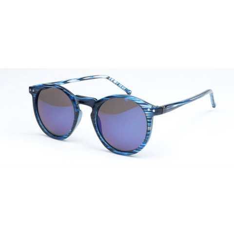 GLMBuy - Summer Fashionista Sunglasses - Blue Striped Frame W/ Blue Mirror