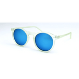 GLMBuy - Summer Fashionista Sunglasses - Matte Transparent Green & Blue Mirror