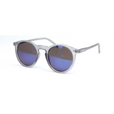 GLMBuy - Summer Fashionista Sunglasses - Matte Transparent Gray & Blue Mirror