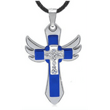 GLMBuy - The Winged Cross Necklace - Blue