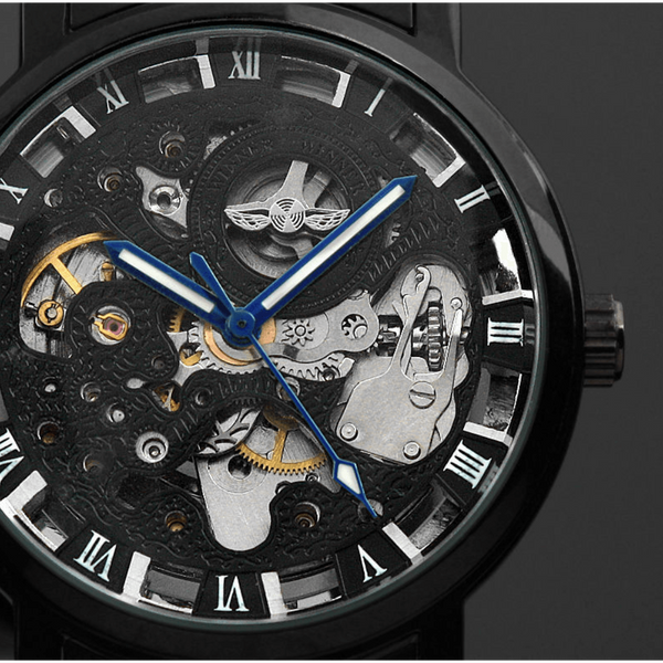 GLMBuy - Black Skeleton Steampunk Mechanical Watch