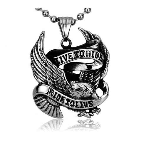 GLMBuy - Live To Ride...Ride To Live Necklace - Silver