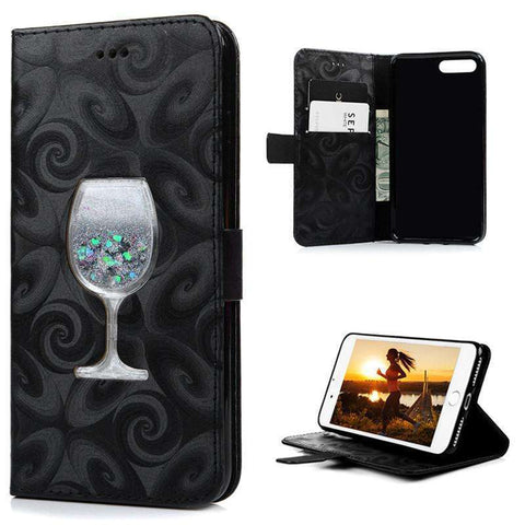 GLMBuy - Wine Glitter iPhone Case For iPhone 7 - Black