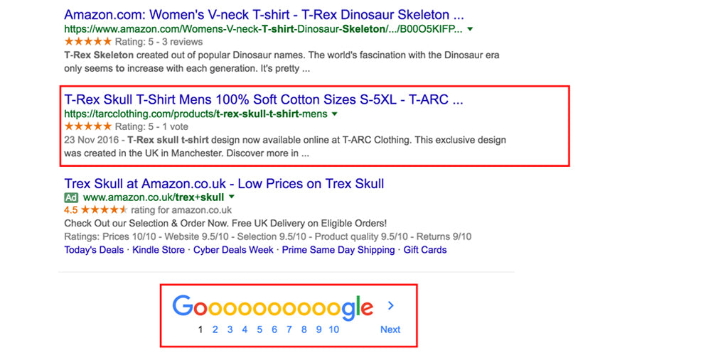 t-arc t-rex skull t-shirt on first page of google, search engine screen shot