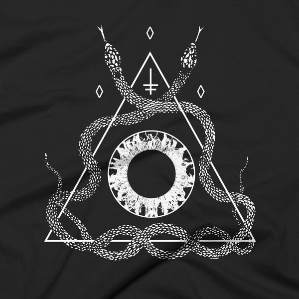 close up of an alternative snake t-shirt design with the iris of an eye at the center