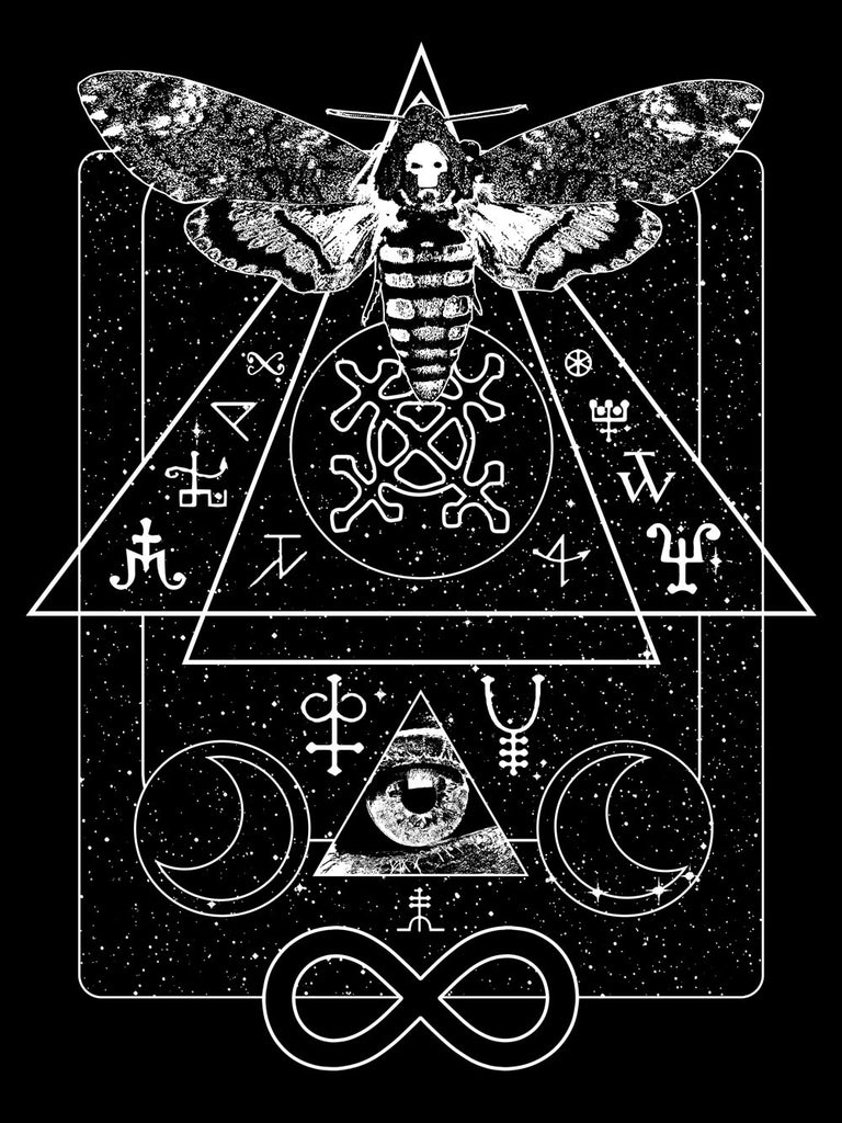 Conceptual occult symbol design with a skull moth, infinity and all seeing eye.