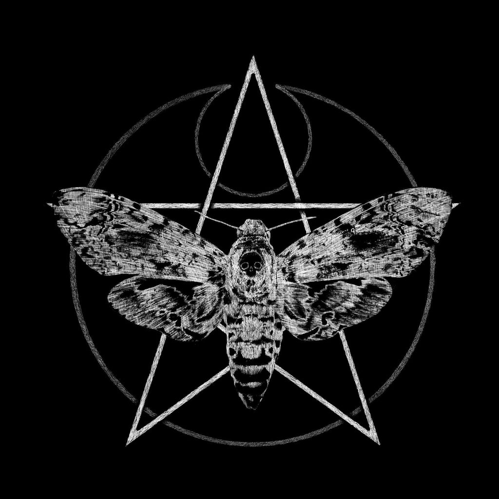 Custom made design preview showing a pentagram behind a death's-head hawkmoth by T-ARC Clothing.