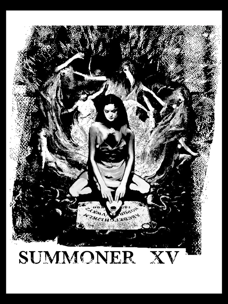 A custom made t-shirt design featuring a girl using an ouija board while spirits float around her, the words summoner written below.