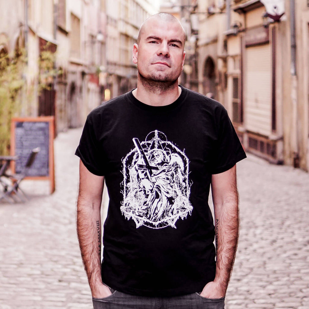 Pierre Leone, THE OATH guitarist wearing a custom made death metal t-shirt.