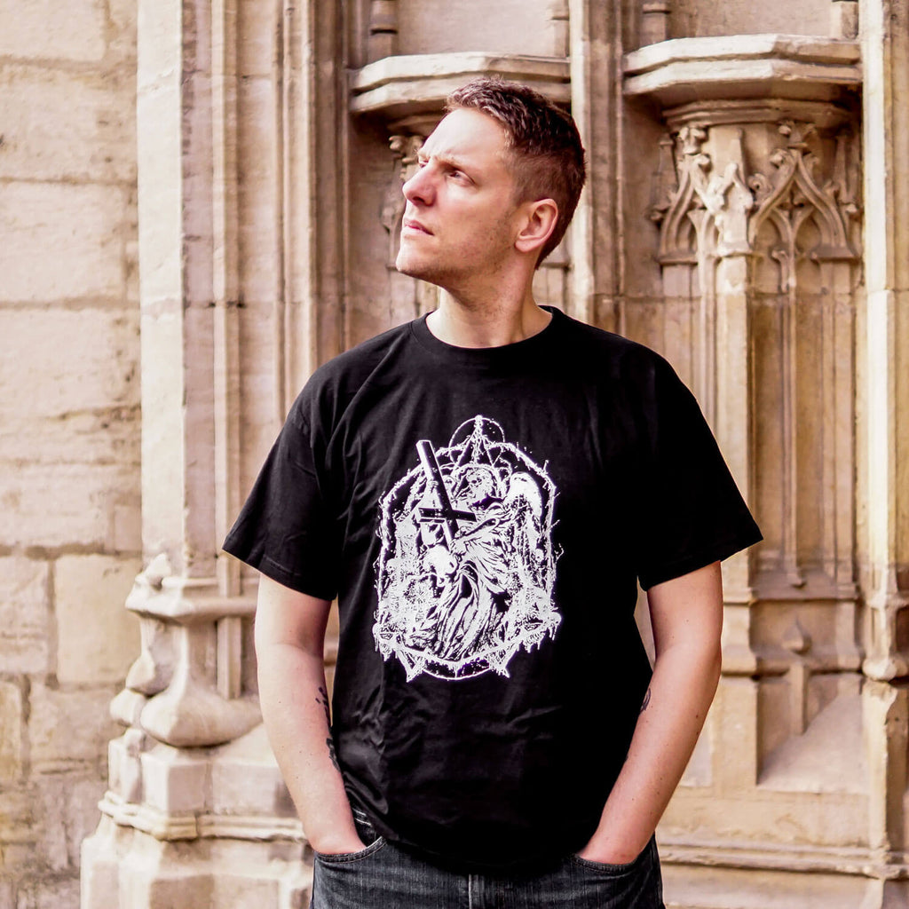 Christophe Bardon THE OATH drummer wearing a death metal t-shirt design.