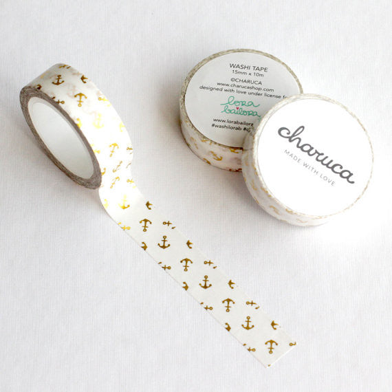 Washi Tape Anclas Blanco (Charuca)
