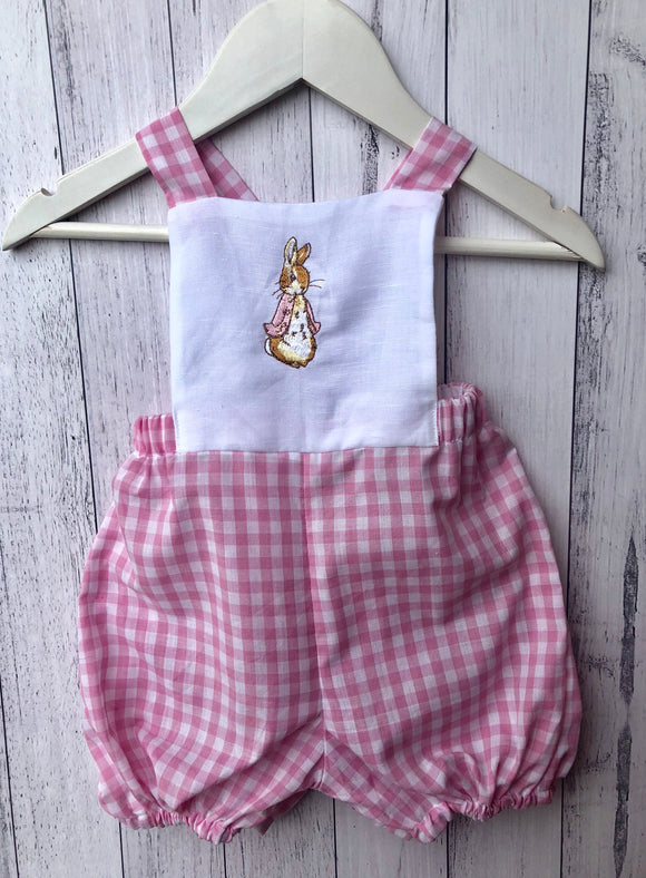 Pink peter rabbit romper