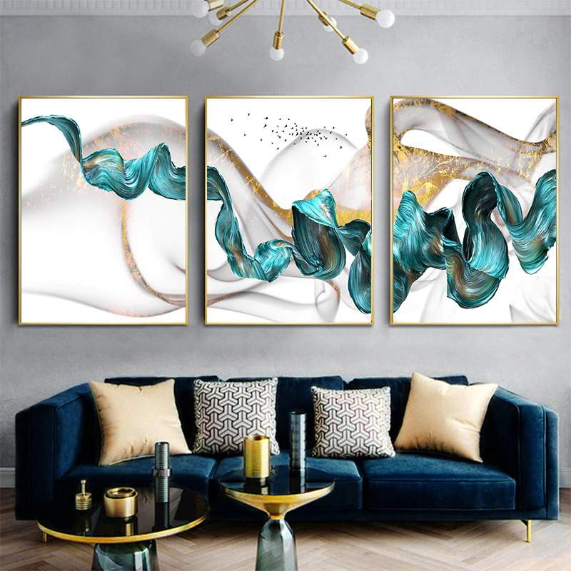 Jade Flow Abstract Canvas
