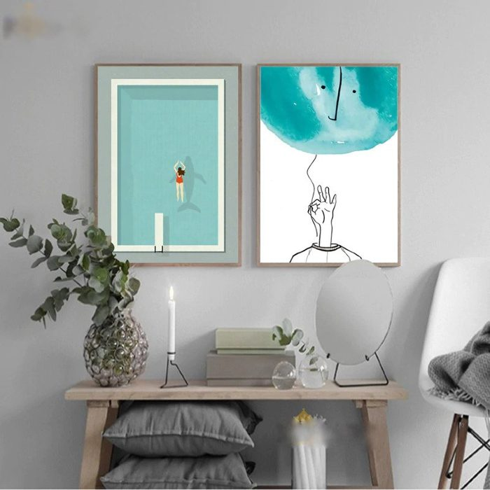 Pool Minimal Contemporary Canvas