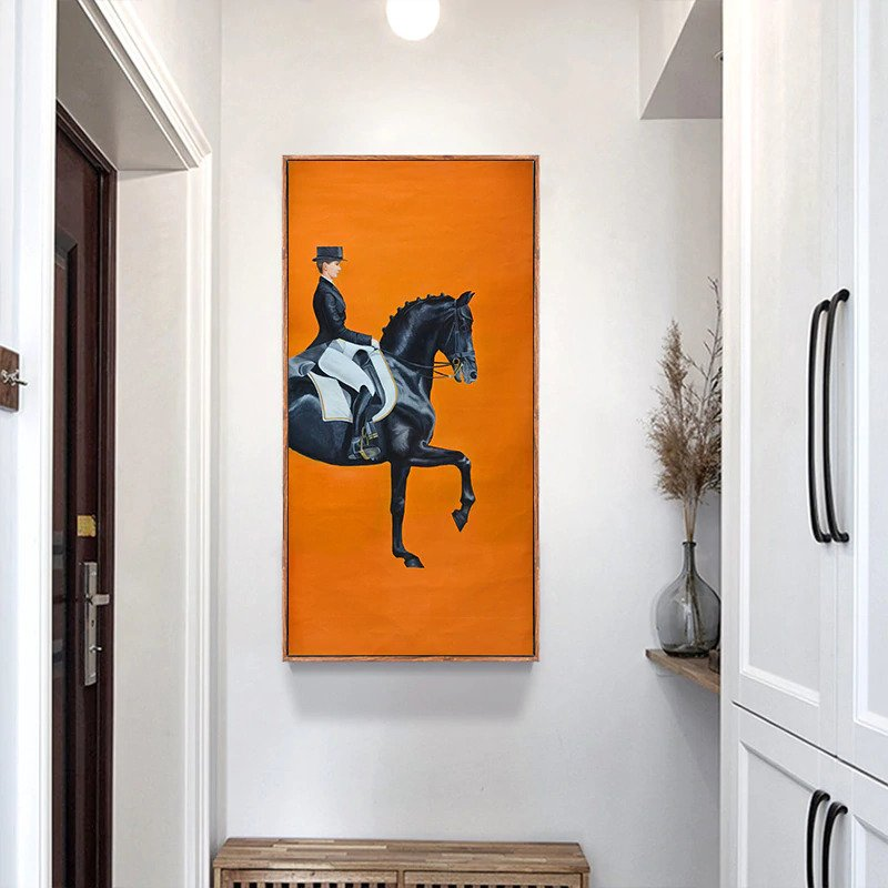 Prancing Stallion Orange Canvas