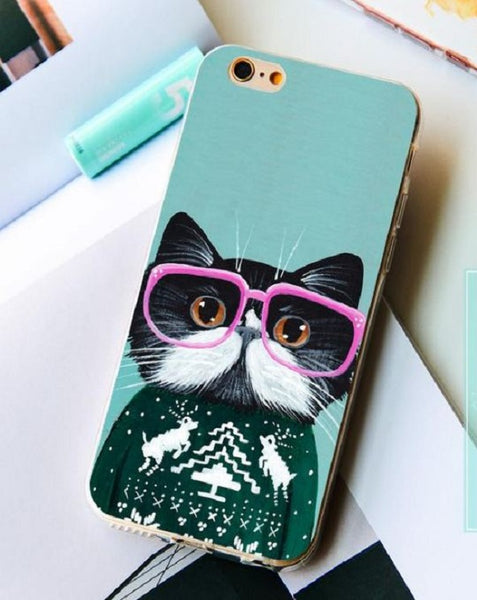 Kitten With Pink Glasses Pets iPhone Case