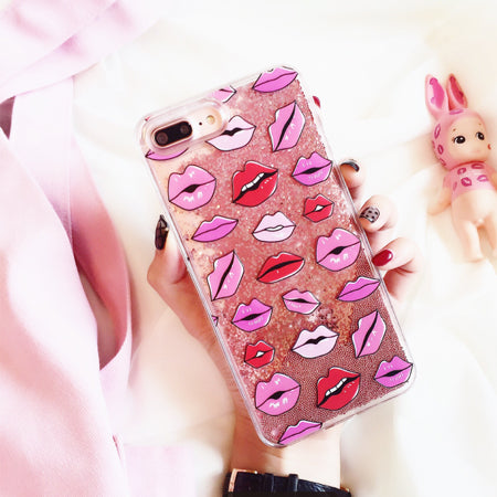 Red Lips Glitter iPhone Case